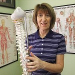 Marago Birmingham in her clinic with the Spine Model